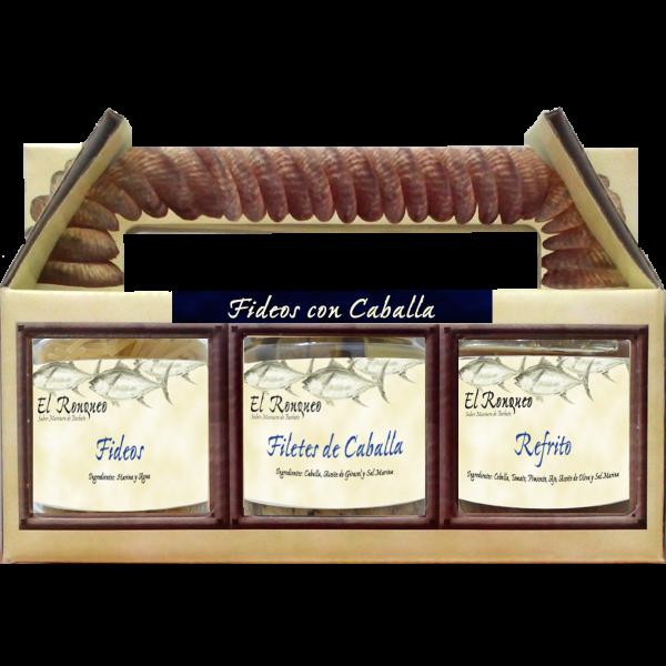Makrelenfilets mit Nudeln und Soße, Fideos con Caballa